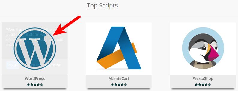 Seleccionar WordPress en Softaculous
