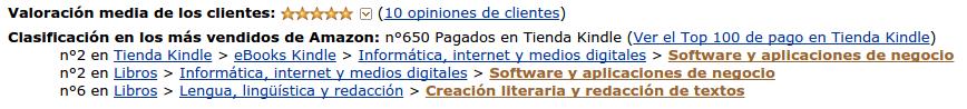 Clasificación Amazon primeros lugares